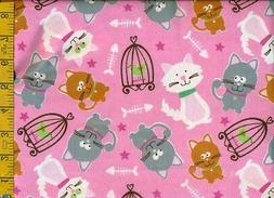 1/2 yard FLANNEL Gray Gold White Cats & Birds in Cages on Pi