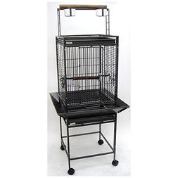 YML 1/2-Inch Bar Spacing Play Top Wrought Iron Parrot Cage,