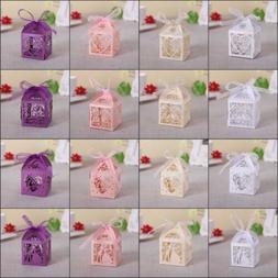 10/50/100Pcs Love Heart Favor Ribbon Gift Box Candy Boxes We