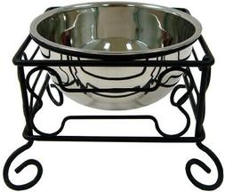 YML 10-Inch Black Wrought Iron Stand with Single Stainless S