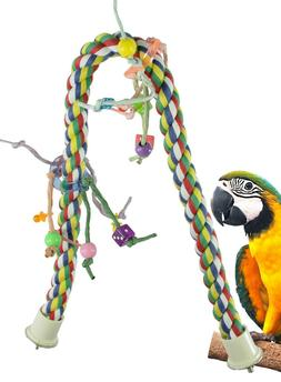 1114 Huge Rope Charm Perch Bird Toy parrot cage toys cages a
