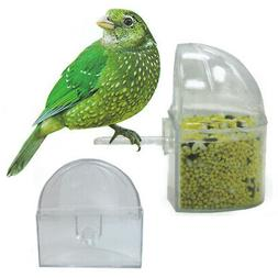 12 Pc Universal Bird Cage Seed Water Food Feeder Clear Heavy