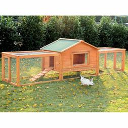"PawHut 122"" Large Wooden Rabbit Hutch Chicken Coop House Hab"