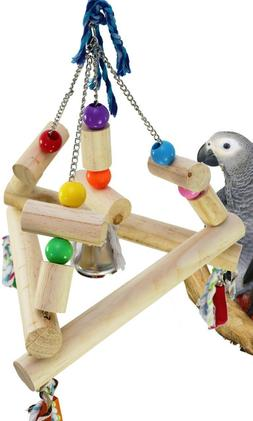 1345 Large Tri Swing Parrot Bird Cage Toys Cages Toy Chew Am