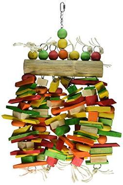 Caitec Bamboo Log Bird Chew Toy, Colorful &Entertaining, Gre