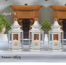 "16 White 8"" Moroccan shabby whitewashed candle holder lanter"