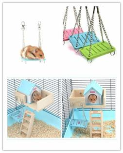 1×Hamster Toys Swing Funny Hanging Gadget Wooden Bird Cage