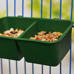 Double Groove Bird Feeder Food Tray Parrot Waterer Hanging A