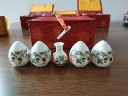 1set 5pcs Asian Bamboo Bird Cage Set Flower and bird ceramic