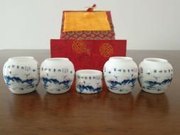 1set 5pcs Asian Bamboo Blue Bird Cage Set Lotus leaf ceramic