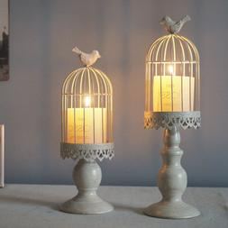 2 in 1 Metal Pillar Birdcage Candlestick Candle Tea Light Ho