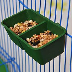 2 in 1 Parrot Food Water Bowl Cups Plastic Birds Pigeons Cag