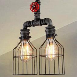 2 Lights Industrial Bird Cage Shade Pendant Light Mottled Ir
