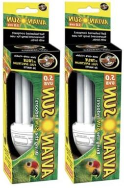 2 Pack Zoo Med AS‑C5 Avian Sun 5.0 Compact Florescent Bulb