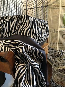 2 Piece Set Zebra Stripes Bird Cage Seed Catcher Skirt & Mat