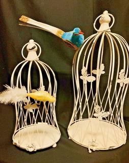 2 Shabby Chic Distressed White Metal Decorative Bird Cages w