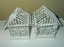 2 small Shabby Chic metal bird cages decor