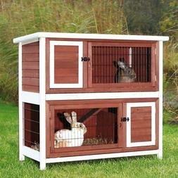 Trixie Pet Products 2-Story Rabbit Hutch -, Brown-White
