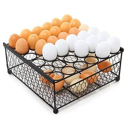 2 Tier Country Rustic Black Chicken Wire 36 Eggs Display Tra
