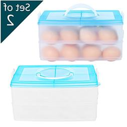 2 Tier Stacking 24 Egg Storage Containers with Handle and Li