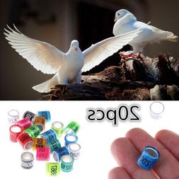 20PCS Bird Rings Leg Bands for Pigeon Pa