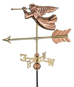 21 Handcrafted Polished Copper Trumpeting Angel Outdoor Weat