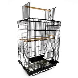 "PawHut 22"" H Steel Parrot Bird Cage Open Play Top Perch Feed"