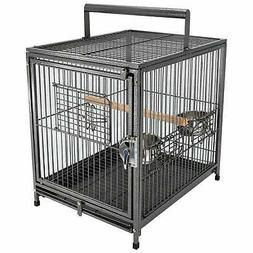"PawHut 22"" Heavy Duty Wrought Iron Travel Bird Cage Carrier"