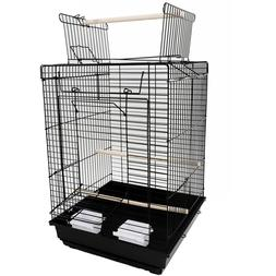 "23"" Bird Cage Pet Supplies Metal Cage with Open Play Top Bla"