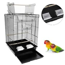 "23"" Portable Bird Cage Pet Supplies Metal Cage with Open Pla"
