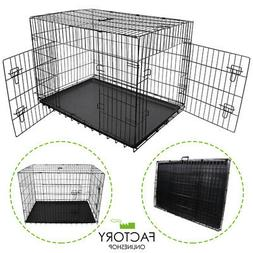 Folding Portable Dog Crate Pet Cage Kennel Pen 2-Doors