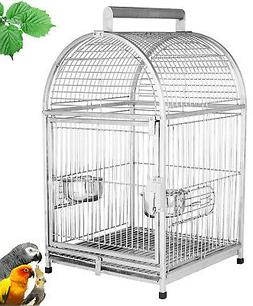 "25"" Dome Top Stainless Steel Travel Bird Parrot Carrier Ca"