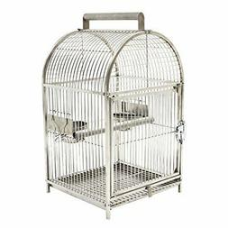 "25"" Dome Top Stainless Steel Travel Bird Cage X7U1"