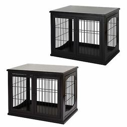 PawHut 26'' Wooden Double Door Dog Cage Pet Crate w/ Simple