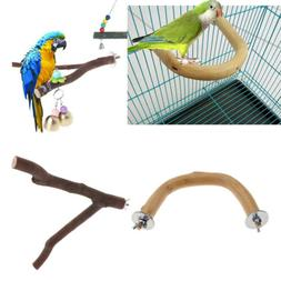 2x Pet Bird Perch Nature Wooden Stand Toys Branch For Parrot