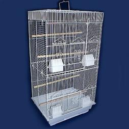 """YML 3/8"""" Bar Spacing Tall Flat Top White Small Bird Cage, 18"""