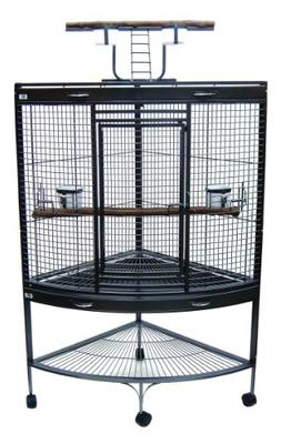 YML 3/4-Inch Bar Spacing Corner Wrought Iron Parrot Cage, 37