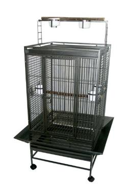 YML 3/4-Inch Bar Spacing Play Top Wrought Iron Parrot Cage,