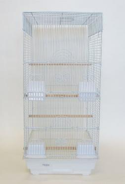 YML 3/8-Inch Bar Spacing Tall Square 4 Perchs Bird Cage, Whi