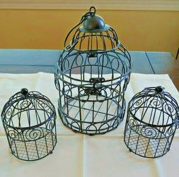 3 Black Metal Bird Cages w/Top Opening - Home Decor Cages De