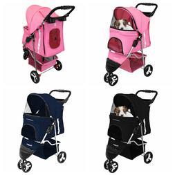 3 Wheel Dog Cat Pet Travel Stroller Folding Carrier Zipper L