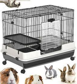 "32"" 2-Floors Rabbit Cage Indoor Small Animal Hutch Ferret Ho"