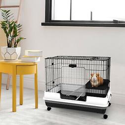 "32""H 2-level Rabbit Cage Indoor Small Animal Hutch Ferret Ho"