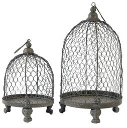 A&B Home 34579-GRAY Phineas Hanging Wire Mesh Candle Holders