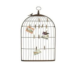 35 in. H Bronze Bird Cage Card Photos Holder Dimensional Ant