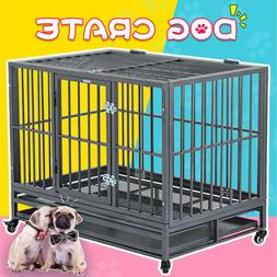 "36"" Large Heavy Duty Metal Dog Crate Pet Kennel Cage Playpen"