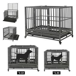 "36""42""Large Heavy Duty Metal Dog Crate Pet Kennel Cage Playp"