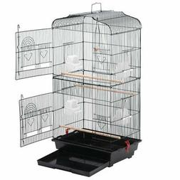 Yaheetech 36'' Metal Bird Cage w/ Perch Stand for Parrot, Fi