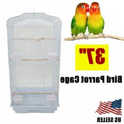 "37"" Parrot Parakeet Cockatiel Bird Cage with Wood Perches &"