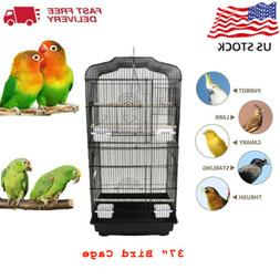 37'' Pet Bird Cage Hanging Parrot Aviary Canary Budgie F
